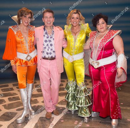 Andrew Pierce With The 'dynamo's' From Left; Kate Graham (tanya) Sara Poyzer (donna Sheridan) And Jacqueline Braun (rosie) On Stage After The Finale Of The Hit West End Show Mama Mia At The Novello Theatre Covent Garden London.