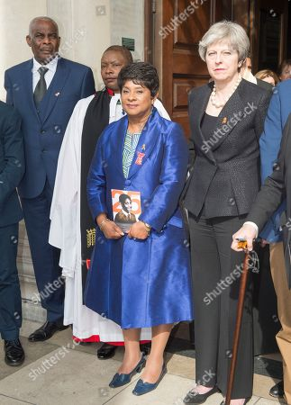 Prince Harry And Meghan Markle Attending The 25th Anniversary Of The Murder Of Stephen Lawrence At The St Martin's In The Field Church In London. Pictured Doreen And Neville Lawrence With The Prime Minister And Jeremy Corbyn. Royal Rota 23.4.18 Writer Richard Pendelbury.