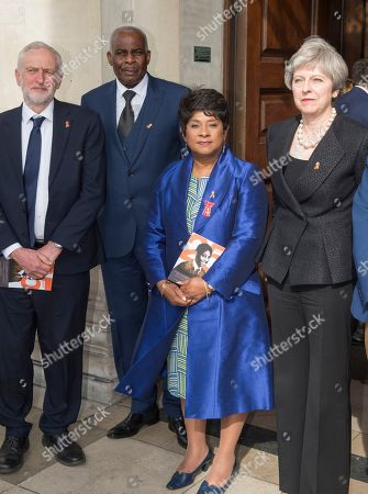 Stock Image of Prince Harry And Meghan Markle Attending The 25th Anniversary Of The Murder Of Stephen Lawrence At The St Martin's In The Field Church In London. Pictured Doreen And Neville Lawrence With The Prime Minister Jeremy Corbyn. Royal Rota 23.4.18 Writer Richard Pendelbury.