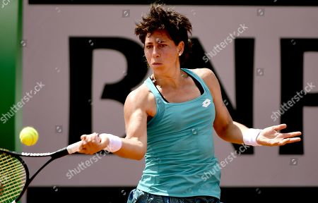 Carla Suarez Navarro of Spain plays Shelby Rogers of the USA during their women?s second round match during the French Open tennis tournament at Roland Garros in Paris, France, 29 May 2019.