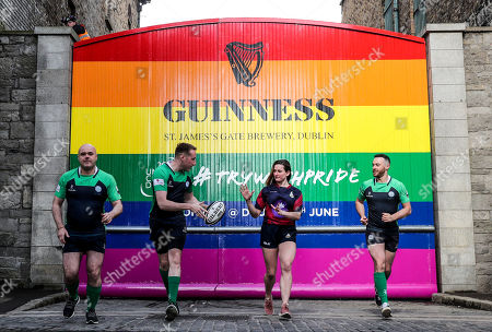 Pictured L-R are Richie Fagan, Emerald Warriors President and Chair of Union Cup, John Noone, Player with the Emerald Warriors, Megan Fogarty, Player with the Emerald Warriors and Oran Sweeney, Emerald Warriors team captain who were on hand today as the team behind GUINNNESS unveiled GUINNESS Union Cup Gates to support its partnership with Europe's biggest LGBT+ inclusive rugby tournament which takes place in Dublin, Ireland for the first time. The iconic GUINNESS Gates at Rainsford Street have been completely transformed for the first time in their history to promote Union Cup which takes place on 8th and 9th June at DCU Campus. The GUINNESS Union Cup Gates took nine days to complete and on hand to reveal the gates were representatives of Ireland's Host team the Emerald Warriors. . The Union Cup takes places over two days and will feature 45 teams from 15 countries. Tickets are available from www.unioncupdublin.ie and are priced at ?10 for adult tickets. GUINNESS has a proud heritage in rugby across a range of provincial, national and tournament sponsorships, some of which span decades. Rugby has an extraordinary capacity to unite and Union Cup celebrates the unique camaraderie and friendship at the heart of the sport, making it a great partner for the GUINNESS brand. Sometimes less is more, drink Guinness Sensibly. Visit www.drinkaware.ie