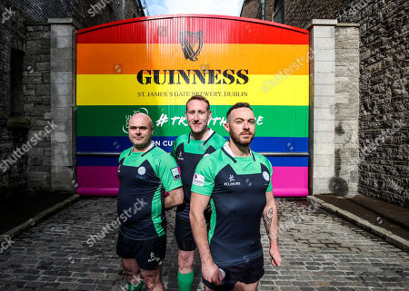 Pictured L-R are Richie Fagan, Emerald Warriors President and Chair of Union Cup, John Noone, Player with the Emerald Warriors and Oran Sweeney, Emerald Warriors team captain who were on hand today as the team behind GUINNNESS unveiled GUINNESS Union Cup Gates to support its partnership with Europe's biggest LGBT+ inclusive rugby tournament which takes place in Dublin, Ireland for the first time. The iconic GUINNESS Gates at Rainsford Street have been completely transformed for the first time in their history to promote Union Cup which takes place on 8th and 9th June at DCU Campus. The GUINNESS Union Cup Gates took nine days to complete and on hand to reveal the gates were representatives of Ireland's Host team the Emerald Warriors. . The Union Cup takes places over two days and will feature 45 teams from 15 countries. Tickets are available from www.unioncupdublin.ie and are priced at ?10 for adult tickets. GUINNESS has a proud heritage in rugby across a range of provincial, national and tournament sponsorships, some of which span decades. Rugby has an extraordinary capacity to unite and Union Cup celebrates the unique camaraderie and friendship at the heart of the sport, making it a great partner for the GUINNESS brand. Sometimes less is more, drink Guinness Sensibly. Visit www.drinkaware.ie