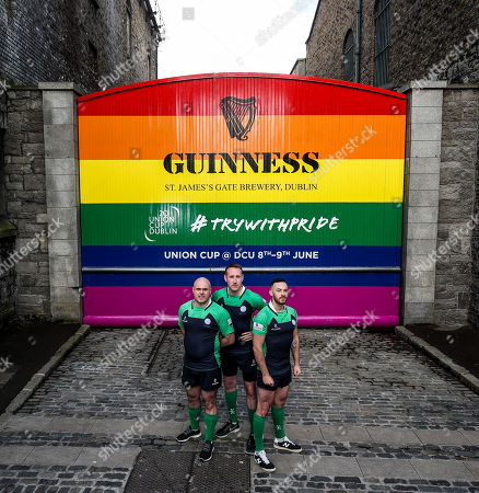 Stock Picture of Pictured L-R are Richie Fagan, Emerald Warriors President and Chair of Union Cup, John Noone, Player with the Emerald Warriors and Oran Sweeney, Emerald Warriors team captain who were on hand today as the team behind GUINNNESS unveiled GUINNESS Union Cup Gates to support its partnership with Europe's biggest LGBT+ inclusive rugby tournament which takes place in Dublin, Ireland for the first time. The iconic GUINNESS Gates at Rainsford Street have been completely transformed for the first time in their history to promote Union Cup which takes place on 8th and 9th June at DCU Campus. The GUINNESS Union Cup Gates took nine days to complete and on hand to reveal the gates were representatives of Ireland's Host team the Emerald Warriors. . The Union Cup takes places over two days and will feature 45 teams from 15 countries. Tickets are available from www.unioncupdublin.ie and are priced at ?10 for adult tickets. GUINNESS has a proud heritage in rugby across a range of provincial, national and tournament sponsorships, some of which span decades. Rugby has an extraordinary capacity to unite and Union Cup celebrates the unique camaraderie and friendship at the heart of the sport, making it a great partner for the GUINNESS brand. Sometimes less is more, drink Guinness Sensibly. Visit www.drinkaware.ie