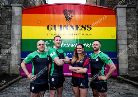 Stock Photo of Pictured L-R are Richie Fagan, Emerald Warriors President and Chair of Union Cup, John Noone, Player with the Emerald Warriors, Megan Fogarty, Player with the Emerald Warriors and Oran Sweeney, Emerald Warriors team captain who were on hand today as the team behind GUINNNESS unveiled GUINNESS Union Cup Gates to support its partnership with Europe's biggest LGBT+ inclusive rugby tournament which takes place in Dublin, Ireland for the first time. The iconic GUINNESS Gates at Rainsford Street have been completely transformed for the first time in their history to promote Union Cup which takes place on 8th and 9th June at DCU Campus. The GUINNESS Union Cup Gates took nine days to complete and on hand to reveal the gates were representatives of Ireland's Host team the Emerald Warriors. . The Union Cup takes places over two days and will feature 45 teams from 15 countries. Tickets are available from www.unioncupdublin.ie and are priced at ?10 for adult tickets. GUINNESS has a proud heritage in rugby across a range of provincial, national and tournament sponsorships, some of which span decades. Rugby has an extraordinary capacity to unite and Union Cup celebrates the unique camaraderie and friendship at the heart of the sport, making it a great partner for the GUINNESS brand. Sometimes less is more, drink Guinness Sensibly. Visit www.drinkaware.ie