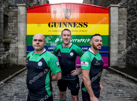 Stock Image of Pictured L-R are Richie Fagan, Emerald Warriors President and Chair of Union Cup, John Noone, Player with the Emerald Warriors and Oran Sweeney, Emerald Warriors team captain who were on hand today as the team behind GUINNNESS unveiled GUINNESS Union Cup Gates to support its partnership with Europe's biggest LGBT+ inclusive rugby tournament which takes place in Dublin, Ireland for the first time. The iconic GUINNESS Gates at Rainsford Street have been completely transformed for the first time in their history to promote Union Cup which takes place on 8th and 9th June at DCU Campus. The GUINNESS Union Cup Gates took nine days to complete and on hand to reveal the gates were representatives of Ireland's Host team the Emerald Warriors. . The Union Cup takes places over two days and will feature 45 teams from 15 countries. Tickets are available from www.unioncupdublin.ie and are priced at ?10 for adult tickets. GUINNESS has a proud heritage in rugby across a range of provincial, national and tournament sponsorships, some of which span decades. Rugby has an extraordinary capacity to unite and Union Cup celebrates the unique camaraderie and friendship at the heart of the sport, making it a great partner for the GUINNESS brand. Sometimes less is more, drink Guinness Sensibly. Visit www.drinkaware.ie