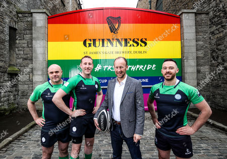 Pictured L-R are Richie Fagan, Emerald Warriors President and Chair of Union Cup, John Noone, Player with the Emerald Warriors, Rory Sheridan, Head of Partnerships, Europe ñ Diageo and Oran Sweeney, Emerald Warriors team captain who were on hand today as the team behind GUINNNESS unveiled GUINNESS Union Cup Gates to support its partnership with Europe's biggest LGBT+ inclusive rugby tournament which takes place in Dublin, Ireland for the first time. The iconic GUINNESS Gates at Rainsford Street have been completely transformed for the first time in their history to promote Union Cup which takes place on 8th and 9th June at DCU Campus. The GUINNESS Union Cup Gates took nine days to complete and on hand to reveal the gates were representatives of Ireland's Host team the Emerald Warriors. . The Union Cup takes places over two days and will feature 45 teams from 15 countries. Tickets are available from www.unioncupdublin.ie and are priced at Ä10 for adult tickets. GUINNESS has a proud heritage in rugby across a range of provincial, national and tournament sponsorships, some of which span decades. Rugby has an extraordinary capacity to unite and Union Cup celebrates the unique camaraderie and friendship at the heart of the sport, making it a great partner for the GUINNESS brand. Sometimes less is more, drink Guinness Sensibly. Visit www.drinkaware.ie
