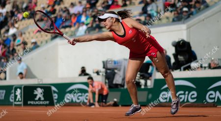 Evgeniya Rodina of Russia in action during her first-round match