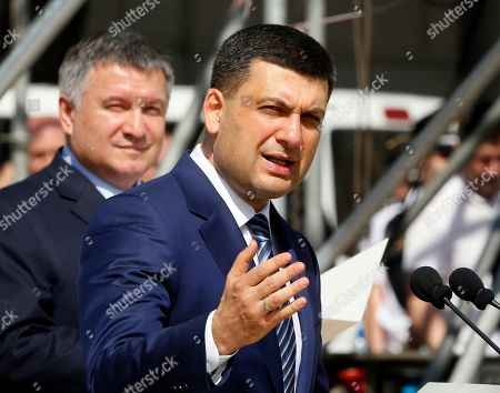 Ukrainian Prime Minister Volodymyr Groysman speaks during a ceremony to launch a new-style police project in Kiev. Ukraine, . The project goal is to turn the old law enforcement system into the new one which would comply with the European standards