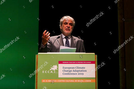 Christos Stylianides, European Commissioner for Humanitarian Aid and Crisis Management, delivers a speech during the 4th European Climate Change Adaptation Conference 2019 at Belem Cultural center, Lisbon, Portugal, 28 May 2019