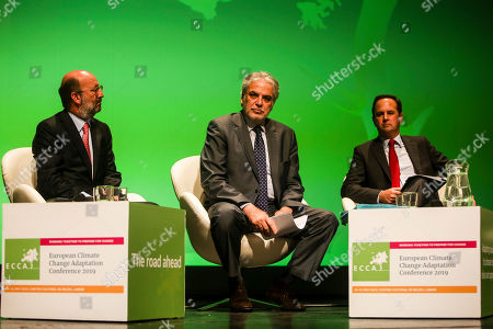 Christos Stylianides (C), European Commissioner for Humanitarian Aid and Crisis Management, flanked by Portuguese Environment Minister, João Matos Fernandes (L), and Lisbon Mayor, Fernando Medina, during the 4th European Climate Change Adaptation Conference 2019 at Belem Cultural center, Lisbon, Portugal, 28 May 2019