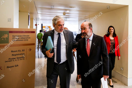 Christos Stylianides (L), European Commissioner for Humanitarian Aid and Crisis Management, chats with Portuguese Environment Minister, João Matos Fernandes, during the 4th European Climate Change Adaptation Conference 2019 at Belem Cultural center, Lisbon, Portugal, 28 May 2019.