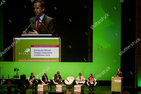 Lisbon Mayor, Fernando Medina, delivers a speech during the 4th European Climate Change Adaptation Conference 2019 with the presence of Christos Stylianides (3L), European Commissioner for Humanitarian Aid and Crisis Management, and Portuguese Environment Minister, Joao Matos Fernandes (2L), at Belem Cultural center, Lisbon, Portugal, 28 May 2019.