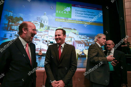 Christos Stylianides (2R), European Commissioner for Humanitarian Aid and Crisis Management, flanked by Portuguese Environment Minister, Joao Matos Fernandes (L), and Lisbon Mayor, Fernando Medina (2L), during the 4th European Climate Change Adaptation Conference 2019 at Belem Cultural center, Lisbon, Portugal, 28 May 2019.