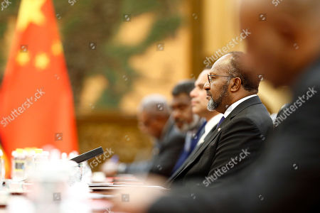 Vanuatu Prime Minister Charlot Salwai attends a meeting with Chinese President Xi Jinping (not pictured) at the Great Hall of the People in Beijing, China, 28 May 2019.