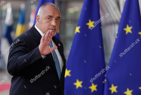 Stock Photo of Bulgaria?s Prime Minister Book Borissov  arrives at a special EU summit in Brussels, Belgium, 28 May 2019. Two days after the European Parliament elections, EU heads of state or government will gather for a summit to discuss the outcome of the vote and start the nomination process for the heads of the EU institutions.