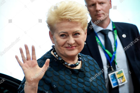 Lithuanian President Dalia Grybauskaite reacts as she arrives at a special EU summit in Brussels, Belgium, 28 May 2019. Two days after the European Parliament elections, EU heads of state or government will gather for a summit to discuss the outcome of the vote and start the nomination process for the heads of the EU institutions.
