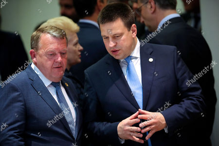 Danish Prime Minister Lars Lokke Rasmussen (L) and Estonian Prime Minister Juri Ratas (R) during the round table of a special EU summit in Brussels, Belgium, 28 May 2019. Two days after the European Parliament elections, EU heads of state or government will gather for a summit to discuss the outcome of the vote and start the nomination process for the heads of the EU institutions.