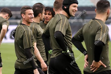 Arsenal player Laurent Koscielny (L) and teammates during a training session at the Baku Olympic Stadium, Baku, Azerbaijan, 28 May 2019. Arsenal will play Chelsea in the UEFA Europa League final on 29 May.