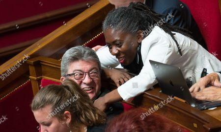 Jean-Luc Melenchon and Daniele Obono during the weekly session of questions to the government at the National Assembly in Paris.