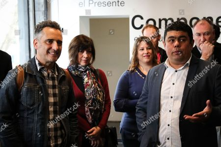 Jorge Drexler (L) attends an event of the Iberorquestas Juveniles program as Ibero American Cultural Ambassador with Orquestas Juveniles Director Ariel Britos (R), in Montevideo, Uruguay, 28 May 2019.