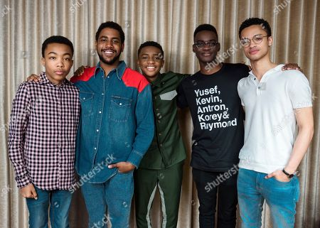 Stock Image of Asante Blackk, from left, Jharrel Jerome, Caleel Harris, Ethan Herisse, and Marquis Rodriguez pose for portraits at the Mandarin Oriental Hotel on in New York, NY