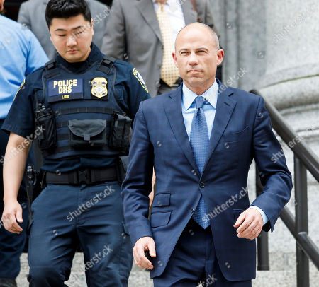 Michael Avenatti (R) departs an US Federal Courthouse after attending hearings where he plead not guilty to charges that he stole 300 thousand US dollars in book sales from former client Stormy Daniels and plead not guilty to extortion charges in New York, New York, USA, 28 May 2019. Avenatti had three separate court appearances today on various charges.