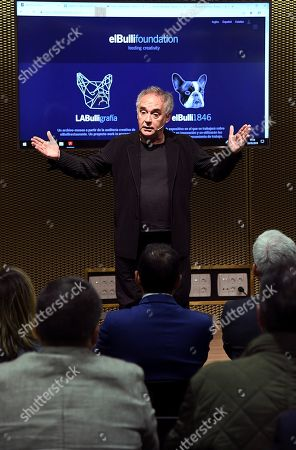 Spanish chef Ferran Adria speaks during the presentation of his book 'Food and Beverage' in Burgos, Spain, 28 May 2019.