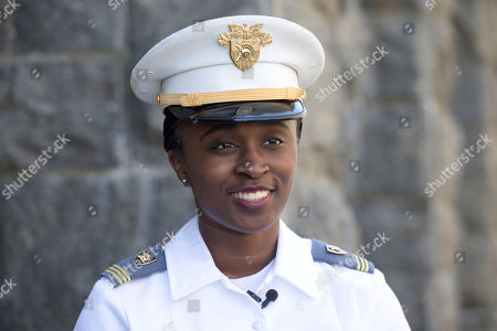 """Senior cadet Stephanie Riley, of Jacksonville, Florida talks during an interview in West Point, N.Y. """"I can show other little girls that yes, you can come to West Point,"""" said Riley. """"Yes, you can do something that maybe the rest of your peers aren't actually doing. And yes, you can be different from the rest of the group"""