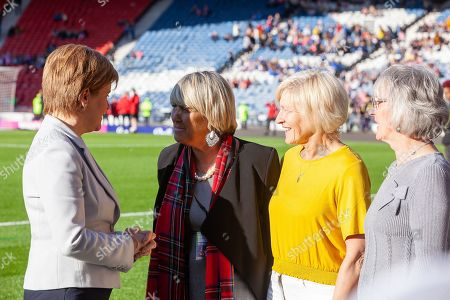 First Minister Nicola Sturgeon pictured with Rose Reilly,Jean Stewart & Linda Kidd following their Scotland cap presentation ahead of  during a Scotland Cap presentation ahead of the International Friendly match between Scotland Women and Jamaica Women at Hampden Park, Glasgow