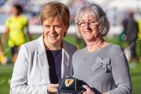 First Minister Nicola Sturgeon presenting Linda Kidd with her long awaited Scotland Cap ahead of the International Friendly match between Scotland Women and Jamaica Women at Hampden Park, Glasgow