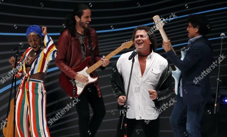 Stock Image of Carlos Vives (2-R) performs during the EXMA 2019 Business Congress in Bogota, Colombia, 28 May 2019. The event runs from 27 to 28 May in the Colombian capital.