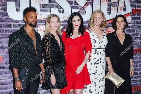 Eka Darville, Rachael Taylor, Krysten Ritter, Melissa Rosenberg and Carrie-Anne Moss