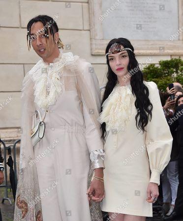 Ghali with his girlfriend Mariacarla Boscono