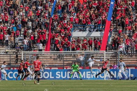 Bernardo Anor (2-R) of Caracas FC in action against Martin Rivas (3-R) of Liverpool FC during the Copa Sudamericana second phase soccer match between Caracas FC and Livepool FC at Olimpico Stadium in Caracas, Venezuela, 28 May 2019.