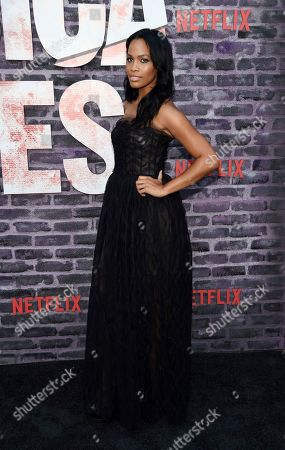 """Tiffany Mack, a cast member in the Netflix series """"Marvel's Jessica Jones,"""" poses at a special screening of the show at the ArcLight Hollywood, in Los Angeles"""