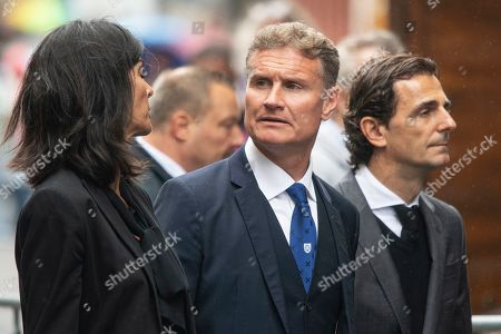 Former Scottish Formula One driver David Coulthard (C) and his wife Karen Minier (L) arrive for a memorial service for Niki Lauda at Saint Stephen's Cathedral in Vienna, Austria, 29 May 2019. Austrian Formula One legend Niki Lauda died on 20 May 2019 at the age of 70. Lauda won the Formula One championship in 1975, 1977, and 1984 and founded three airlines.