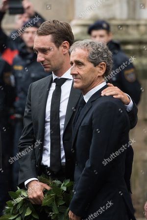 (L-R) Mathias Lauda and former French Formula One driver Alain Prost attend a memorial service for Niki Lauda at Saint Stephen's Cathedral in Vienna, Austria, 29 May 2019. Austrian Formula One legend Niki Lauda died on 20 May 2019 at the age of 70. Lauda won the Formula One championship in 1975, 1977, and 1984 and founded three airlines.