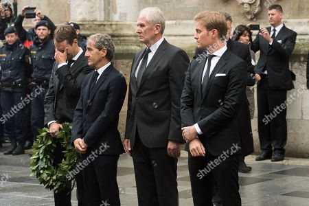 (L-R) Mathias Lauda, Former French Formula One driver Alain Prost, Red Bull Racing Motorsport Consultant Helmut Marko and Former German Formula One driver Nico Rosberg during a memorial service for Niki Lauda at Saint Stephen's Cathedral in Vienna, Austria, 29 May 2019. Austrian Formula One legend Niki Lauda died on 20 May 2019 at the age of 70. Lauda won the Formula One championship in 1975, 1977, and 1984 and founded three airlines.