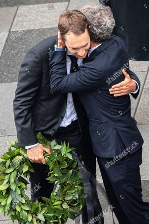 Niki Lauda's son Mathias (L) is embraced by former French Formula One driver Alain Prost (R) during a memorial service for Niki Lauda at Saint Stephen's Cathedral in Vienna, Austria, 29 May 2019. Austrian Formula One legend Niki Lauda died on 20 May 2019 at the age of 70. Lauda won the Formula One championship in 1975, 1977, and 1984 and founded three airlines.