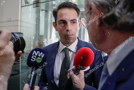 Chairman of Vlaams Belang party Tom Van Grieken (L) arrives at the flemish Parliament ahead of a meeting with Bart De Wever, New Flemish Alliance (Nieuw-Vlaamse Alliantie, N-VA) party leader, leader of first party of Flemish part of Belgium in Brussels, Belgium, 29 May 2019.