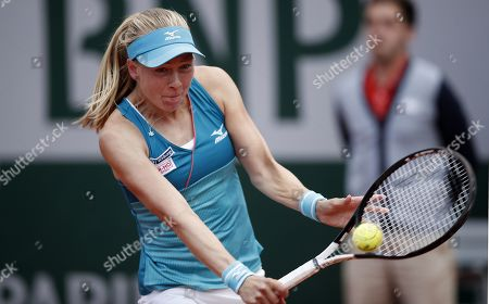 Johanna Larsson of Sweden plays Garbine Muguruza of Spain during their women?s second round match during the French Open tennis tournament at Roland Garros in Paris, France, 29 May 2019.
