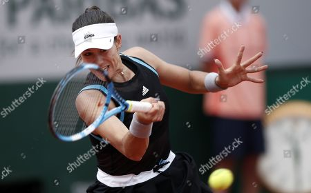 Garbine Muguruza of Spain plays Johanna Larsson of Sweden during their women?s second round match during the French Open tennis tournament at Roland Garros in Paris, France, 29 May 2019.