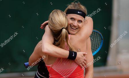 Lucie Safarova of the Czech Republic playing her final career doubles match at the 2019 Roland Garros Grand Slam tennis tournament