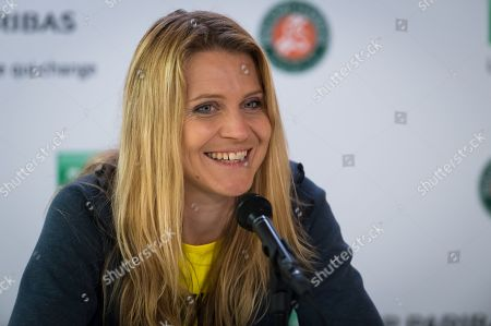 Lucie Safarova of the Czech Republic talks to the media after playing her final career doubles match at the 2019 Roland Garros Grand Slam tennis tournament