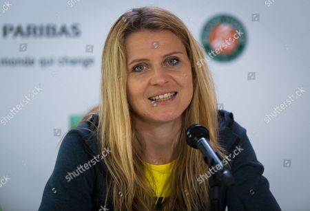 Stock Photo of Lucie Safarova of the Czech Republic talks to the media after playing her final career doubles match at the 2019 Roland Garros Grand Slam tennis tournament