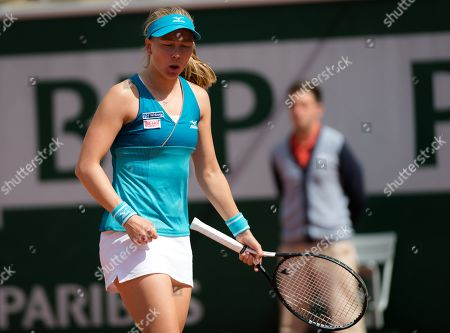 Johanna Larsson of Sweden in action during her second-round match at the 2019 Roland Garros Grand Slam tennis tournament