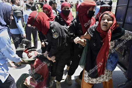 Supporters of opposition party 'Pakistan Peoples' clash with police as their party's chairman 'Bilawal Bhutto Zardari' appears in front of the National Accountability Bureau (NAB) in Islamabad, Pakistan, 29 May 2019. Bilawal Bhutto Zardari appeared before NAB on 29 May to record their statements in the fake bank accounts case.