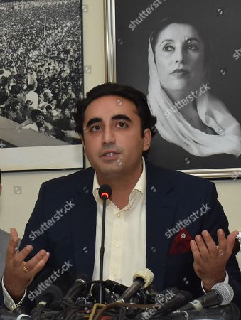 Bilawal Bhutto Zardari, Chairman Pakistan Peoples Party (PPP) during a press conference after he appeared before the National Accountability Bureau (NAB) in Islamabad, Pakistan, 29 May 2019. Bilawal appeared before the NAB office on 29 May 2019 for 30 minutes, his accused of fake accounts case. according to media reports, Bilawal had asked party supporters to gather in front of NAB?s office. The police had arrest Around 40 PPP workers, including two females.