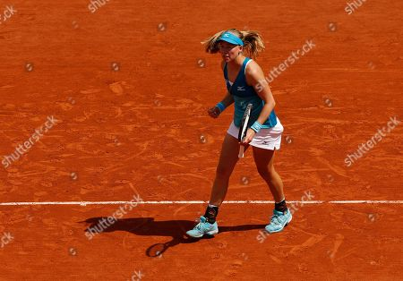 Johanna Larsson of Sweden reacts during play