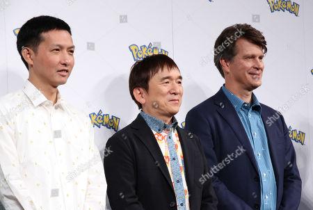 NetEase Games vice president Ethan Wang, Pokemon company president Tsunekazu Ishihara and Niantic CEO John Hanke